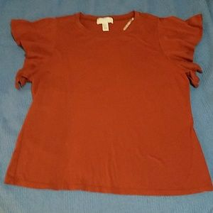 Forever 21 Rust Blouse With Butterfly Cap Sleeves